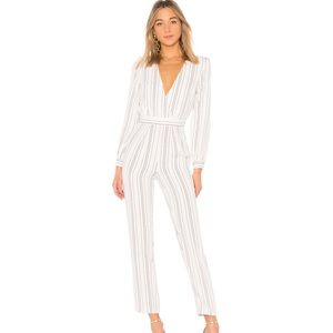 Lovers + friends study abroad striped jumpsuit S